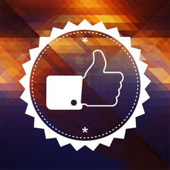 Thumb Up Icon on Triangle Background.