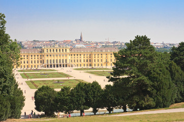 Panorama of Schonbrunn Palace in Vienna, Austria