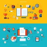 Flat design concepts of education and online learning
