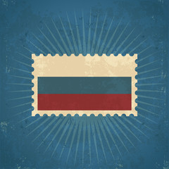 Retro Russia Flag Postage Stamp