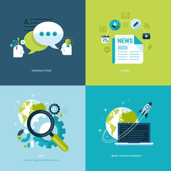 Flat icons for consulting, news, seo, web development.