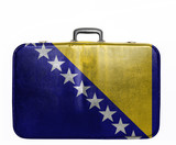 Vintage travel bag with flag of Bosnia and Herzegovina