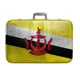 Vintage travel bag with flag of Brunei
