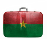 Vintage travel bag with flag of Burkina Faso