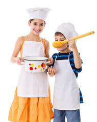 Kids with pan and big ladle