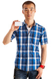 Asian man holding business card