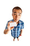 Funny Asian man holding business card