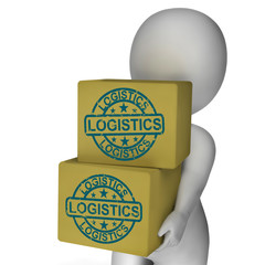 Logistics Boxes Mean Packaging Transport And Delivery