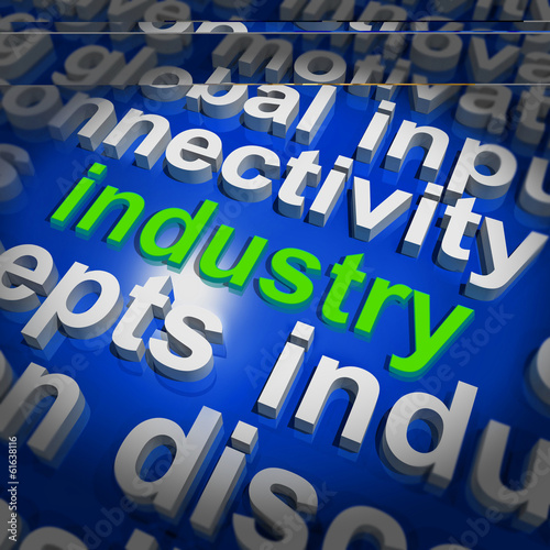 Industry Word Cloud Shows Industrial Workplace Or Manufacturing
