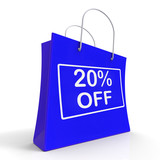 Shopping Bag Shows Sale Discount Twenty Percent Off 20