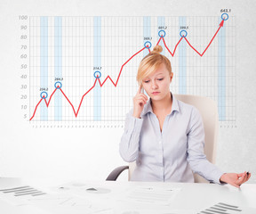 Young businesswoman calculating stock market with rising graph i