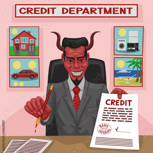 The devil offers credit for consumer needs for the client.