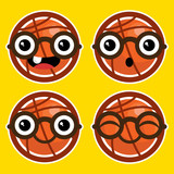 Cartoon Basketballs with Eyeglasses