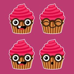 Cartoon Cupcakes with Eyeglasses