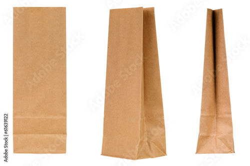 Blank paper bag set isolated on white background
