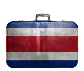 Vintage travel bag with flag of Costa Rica