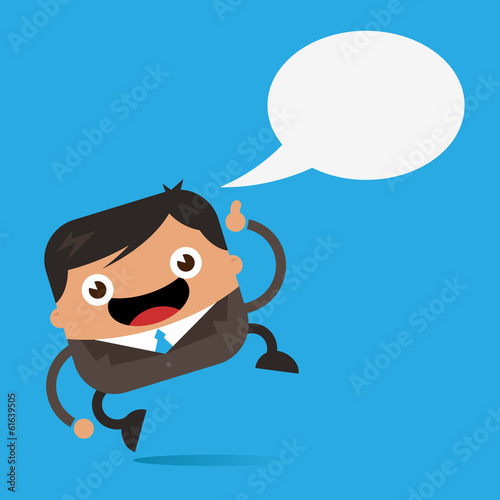 Happy Business Man with Speech Bubble