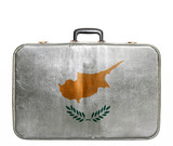 Vintage travel bag with flag of Cyprus