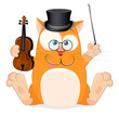 Nice vector cartoon cat with violin