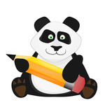 Nice cartoon panda with pen