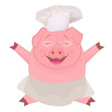 Nice cartoon pig as a cook