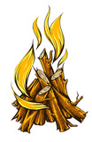 Flame fire of campfire with firewood. Eps10 vector