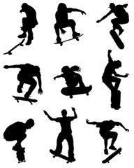 Black silhouettes of skate jumpers, vector