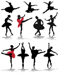 Silhouettes of ballerinas, vector illustration