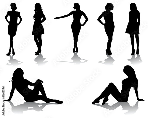 Silhouettes of beautiful girls, vector illustration