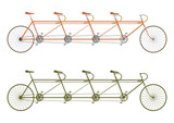 Silhouette of a vintage four seater tandem bike - 61642949