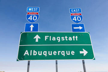 US Interstate I-40 road sign in Arizona