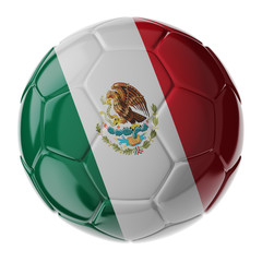 Soccer ball. Flag of Mexico
