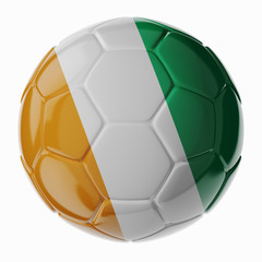 Soccer ball. Flag of Ivory Coast