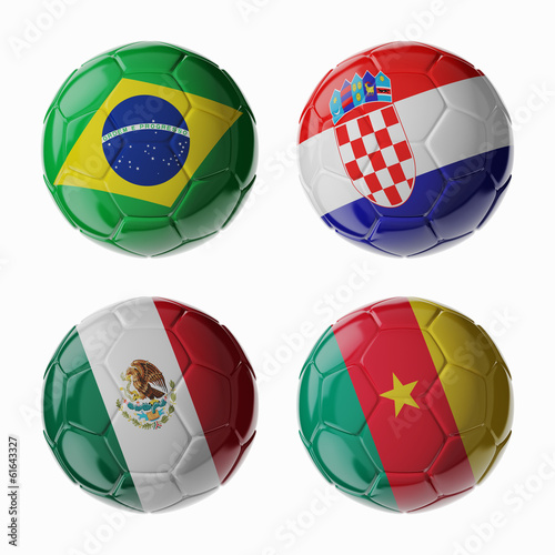 Football WorldCup 2014. Group A. Football/soccer balls.