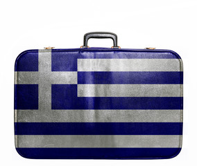 Vintage travel bag with flag of Greece
