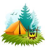 Camping in forest with tent and campfire. Eps10 vector