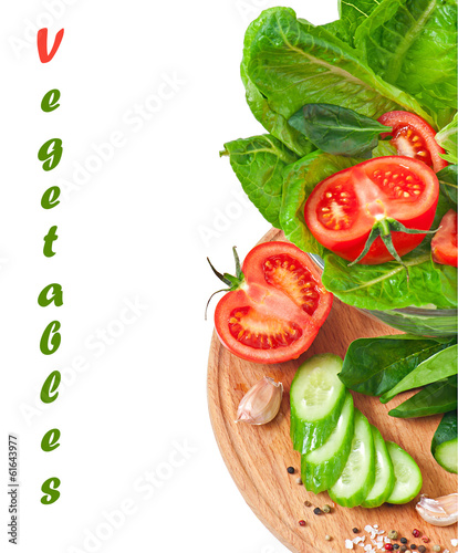 Fresh vegetables on the white with space for text