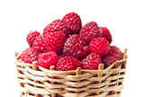 raspberries in a wooden basket