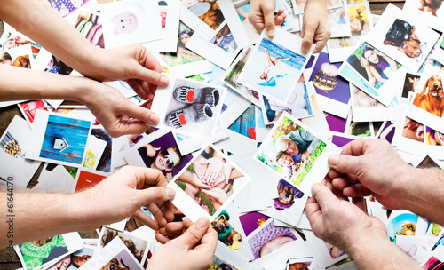 Set of images in family hands