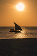Scenic view of sunset in Zanzibar with Typical Zanzibarian boat