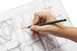 female designer scribbling