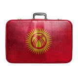 Vintage travel bag with flag of Kyrgyzstan