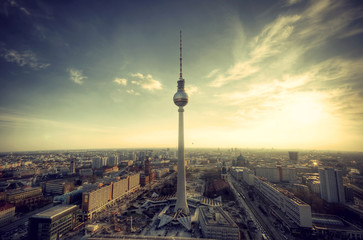 Panoramablick auf Berlin vom Park Inn Hotel, vintage style