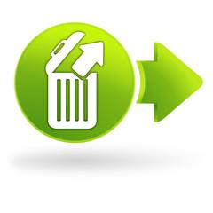 retirer de la corbeille sur symbole web vert