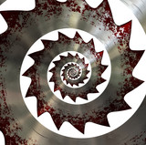 Bloody saw blade. Spiral pattern