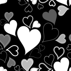 Black & white seamless hearts pattern or background