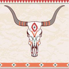 Vector illustration of bull skull with ethnic ornament