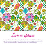 Colorful floral background with leaves and flowers.