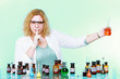 chemist woman with glassware silence gesture isolated