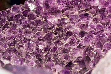 Violet smoked quartz crystals geode